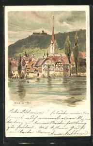 Künstler-AK Carl Biese: Stein am Rhein, Ortspartie vom Wasser aus gesehen