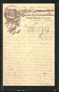 Vorläufer-Lithographie Lucerne, 1895, Swan-Hotel Cygne