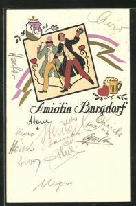 AK Burgdorf, Studentenwappen Amicitia, Männer mit Pfeife und Spazierstock