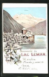 Winter-Lithographie Lac Léman, Uferpartie mit Blick zum Chillon