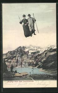 AK Kandersteg - Oeschinensee, Fliegende Menschen über dem See