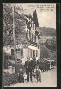 AK Sulzbach / Oberegg, Gasthaus zum Falken, Liliputaner Seppetoni und Katharina