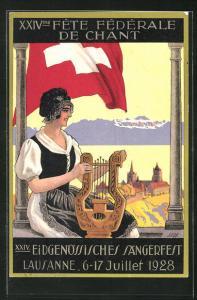 AK Lausanne, XXIV. Eidg. Sängerfest 1928, Frau mit Harfe blickt zur Stadt, Schweizer Flagge