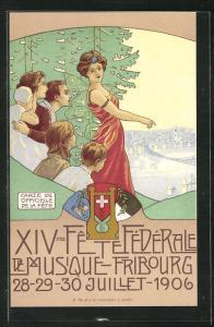 AK Fribourg, XIV. Fete Federale, Sängerfest 1906, Familie blickt auf die Stadt