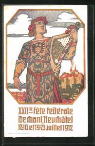 AK Neuchatel, XXII. Fete Federale, Sängerfest 1912, Teilnehmer mit Blumenkranz und Harfe