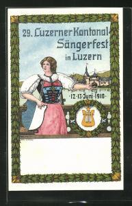 AK Luzern, 29. Luzerner Kantonal Sängerfest 1910, Frau in Tracht mit Wappen zeigt auf den Ort
