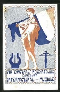 AK La Chaux-de-Fonds, Tir Cantonal Neuchatelois, Sängerfest 1913, Mann mit Flagge