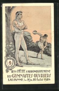 AK Lausanne, II. Fete d`Arrondissement des Gymnastes Ouvriers, Turnfest 1924, Teilnehmer mit Diskus