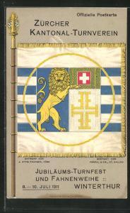 AK Winterthur, Turnfest und Fahnenweihe 1911, Zürcher Kantonal-Turnverein, Flagge
