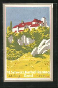 AK Basel, VI. Schweizer Katholikentag, Blick auf Mariastein