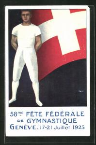 AK Genève, 58. Fete Federale de Gymnastique, Turnfest 1925, Teilnehmer mit Schweizer Flagge