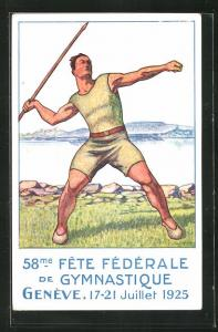 AK Genève, 58. Fete Federale de Gymnastique, Turnfest 1925, Mann mit Speer