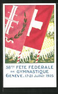 AK Genève, 58, Fete Federale de Gymnastique, Turnfest 1925, Schweizer Flagge vor Teilnehmern
