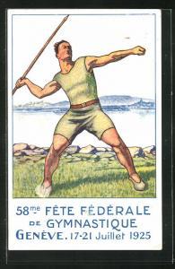 AK Genève, 58. Fete Federale de Gymnastique, Turnfest 1925, Teilnehmer mit Speer