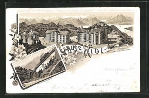Vorläufer-Lithographie Rigi, 1895, Hotel aus der Vogelschau, Eisenbahn auf der Schnurtobelbrücke