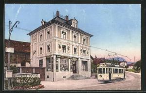 AK Seewen / Schwyz, Strassenbahn vor dem Coiffeur Jos. Kälin