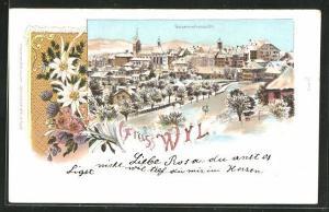 Winter-Lithographie Wyl, Ortsansicht aus der Vogelschau