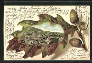 Passepartout-Lithographie Herisau, Ortsansicht im Eichenblatt