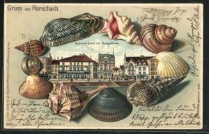 Passepartout-Lithographie Rorschach, Bahnhof, Hafen mit Postgebäude von Muscheln eingerahmt
