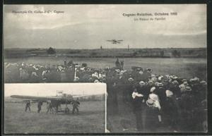 AK Cognac-Aviation, Un Retour de Hanriot, Octobre 1910, Flughafen