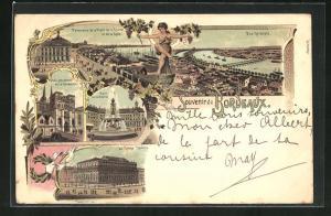 Lithographie Bordeaux, Panorama de la Place de la Bourse, Grand Théatre, Portail Méridional