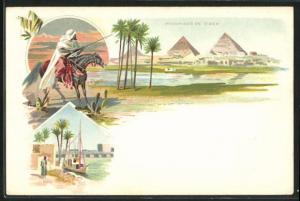 Lithographie Gizeh, Pyramiden, Pont de Kasr, Bewaffneter Reiter