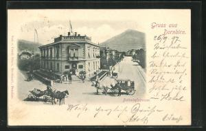 AK Dornbirn, Bahnhofstrasse am Hotel Weiss