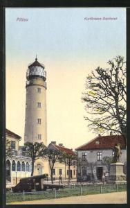 AK Pillau, Kurfürsten-Denkmal und Leuchtturm