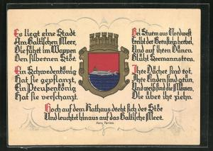AK Pillau, Wappen der Stadt zeigt einen Stör mit Krone