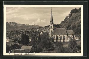 AK Vaduz, Ortsansicht mit Kirche