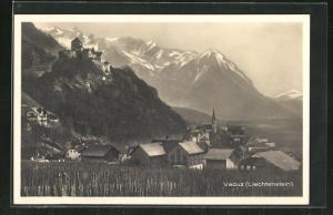 AK Vaduz, Ortsansicht mit Bergen