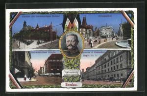 AK Breslau, Kloster der Barmherzigen Brüder, Königsplatz, General-Feldmarschall von Hindenburg
