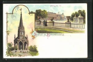 Lithographie Bruxelles, Palais du roi, Monument Leopold Ier