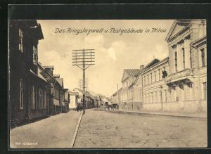 AK Mitau, Das Kriegslazarett u. Postgebäude