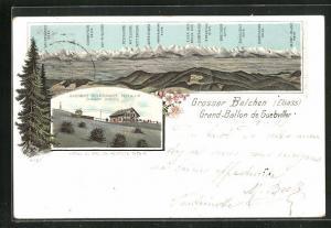 Lithographie Grosser Belchen / Elsass, Gasthaus Belchenkopf, Panoramamit Eiger, Mönch und Jungfrau