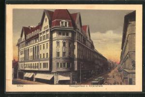AK Graz, Roseggerhaus u. Annenstrasse