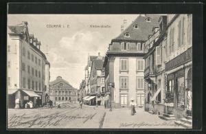 AK Colmar i. E., Kleberstrasse mit Geschäft von M. Kauffmann