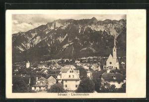 AK Schaan-Liechtenstein, Ortsansicht mit Kirche