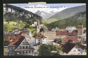 AK Feldkirch / Vorarlberg, Teilansicht mit der Gurtisspitze