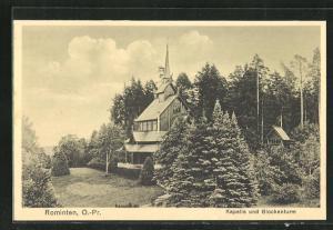 AK Rominten, Kapelle und Glockenturm