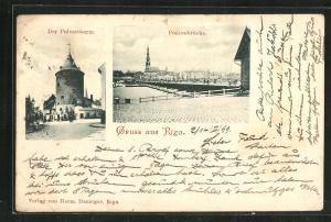 AK Riga, Pulverthurm und Pontonbrücke