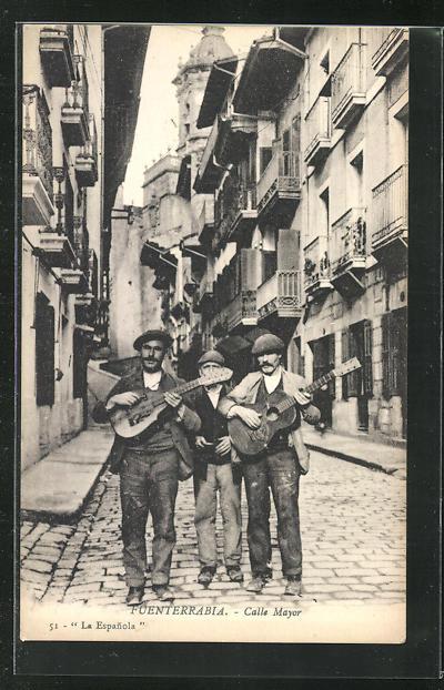 AK Fuenterrabia, Calle Mayor, Strassenmusikanten 0