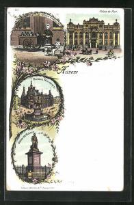 Lithographie Anvers / Antwerpen, Palais du Roi, Laitière, Banque Nationale, Statue de Rubens
