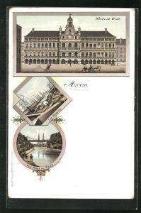 Lithographie Anvers, Hôtel de Ville, Les Bassins, Parc