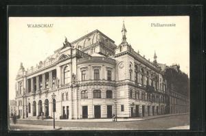 AK Warschau-Warszawa, Strassenpartie an der Philharmonie