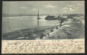 Mondschein-AK Dievenow, Neuer Hafen von Dievenow mit Mohle