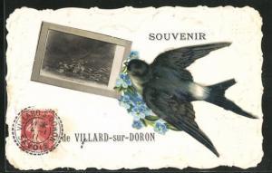 Präge-AK Villard-sur-Doron, Vue générale, Schwalbe