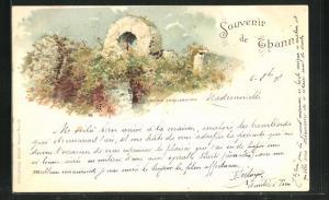 Lithographie Thann, Ruine Engelsbourg