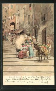 Künstler-AK Napoli, Gradini S. Barbara