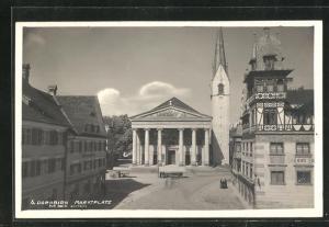 AK Dornbirn, Marktplatz mit Kirche